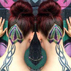 #redhair #undercut #tribaltatoo #hairtattoo #glitterhair #glitterundercut #hairbun