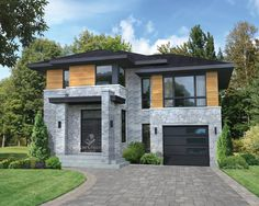 The beauty of this ultra-modern two-storey house is brought out by the abundant windows, the large porch and by the stone, brick and wood facing. The house is 38 feet 10 inches wide by 34 feet deep and provides square feet of living space along with Plan Ville, Modern Contemporary Homes, Modern Homes, Two Storey House, Front Yard Design, Surface Habitable, Storey Homes, Large Homes, Modern Exterior