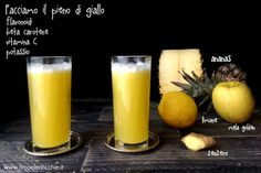 6 estratti a colori per una sana alimentazione ricette e proprietà Smoothie Drinks, Smoothies, Raw Food Recipes, Pint Glass, Milkshake, Juice, Vegan, Breakfast, Healthy