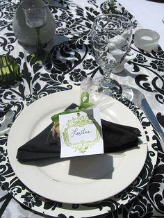 Damask wedding shower tablescape