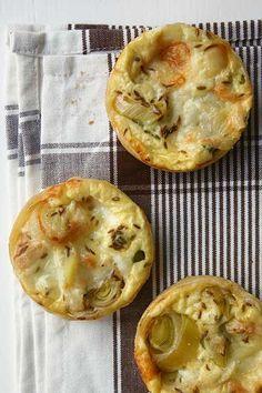 Leek, taleggio & cumin tarts. really really tasty.