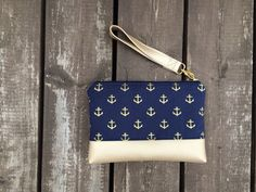 Navy and gold anchor clutch metallic gold