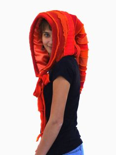 Elf Hood Recycled Upcycled Sweaters Satin Lined Orange by tantor, $75.00