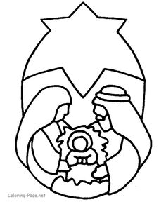 Bible Coloring Page - Star Nativity
