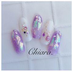 Cute Nail Art, Gel Nail Art, Cute Nails, Pretty Nails, Gem Nails, Shellac Nails, Acrylic Nails, Asian Nails, Korean Nails