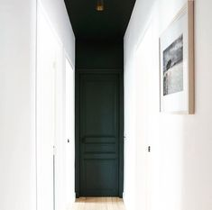 Jeff Trotter design Colour blocking black door and ceilings and white walls Scandinavian Doors, Scandinavian Design, Black Hallway, Hallway Ceiling, Hallways, Paint Color Combos, Black Ceiling, Decoration Bedroom, Interior Decorating