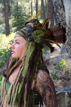 Green Goddess Headdress Festival Wear OOak by IntergalacticApparel, $184.00