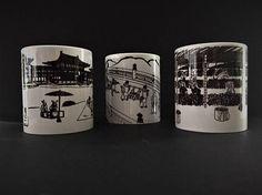 Taza japonesa Chōjū-giga 1ª taza individual 'Puente de Uji' 2ª taza individual 'Templo Byōdō-in' 3ª taza individual 'Campo de té' Material: cerámica. Calidad AAA. Medidas: Ø82 mm x 97 mm de alto. Es resistente al lavavajillas y al microondas.