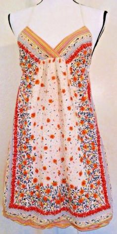 Twenty-One-Rose-and-Stripe-print-Dress-Size-Small-Strap-BoHo-Peasant-Fun-Light