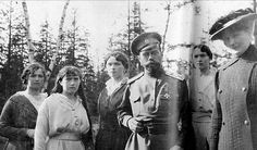 Close to the end...Tsar Nicholas II, Empress Alexandra and their four daughters Grand Duchesses (Left to Right) Marie, Anastasia, Olga and Tatiana