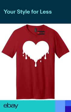 671b7cd7d Dripping Heart Melting Heart Graphic Mens V-Neck T Shirt Love Hipster Music  Tee