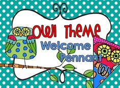"""This PRECIOUS """"WELCOME"""" pennant is a must-have for any owl themed classroom. The set comes with the word WELCOME (one letter per pennant) and 8 extra owl pennants. I know you'll agree the owls are amazing!! $"""