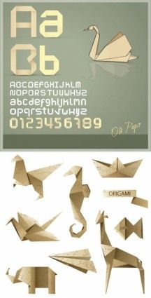 origami letter and graphics vector