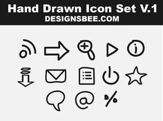 Free Vector Hand Drawn Icons Set by Designsbee