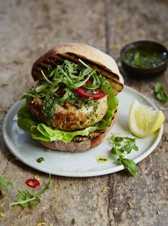 Jamie Oliver . tuna burger . { healthy & super easy alternative to a meaty burger . perfect Friday night food } .