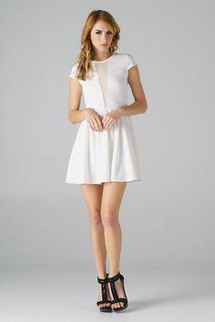 white dress with deep v