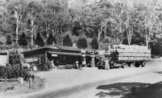 Service station outside Toowoomba, Queensland, ca. Pollard's truck loaded with wool bales just outside Toowoomba. Italy Rail, Via Rail, Rail Car, Forest Hill, Rural Area, Draft Horses, Black N White Images, Bologna, East Coast