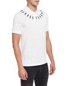 Lightning Bolt Polo Shirt, White