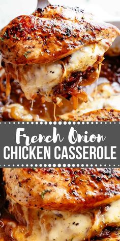 French Onion Stuffed Chicken Casserole makes for a delicious dinner! Juicy, succulent chicken breasts stuffed with caramelized onions and glorious melted cheese. A perfect weeknight or weekend dinner. Low Carb and Keto approved! Chicken Casserole, Casserole Recipes, Easy Chicken Dinner Recipes, Turkey Recipes, Food Dishes, Main Dishes, Healthy Recipes, Cooking Recipes, Easy Recipes