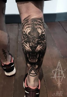 ▷ 1001 ultra cool tiger tattoo ideas for inspiration - Tattoos - Tattoo Calf Sleeve Tattoo, Calf Tattoo Men, Leg Tattoos, Body Art Tattoos, Sleeve Tattoos, Cool Tattoos, Tatoos, Calf Tattoos For Guys, Inspiration Tattoos
