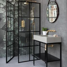 What a beautiful Crittall-style shower screen - it really sets off this modern bathroom design Contemporary Bathrooms, Modern Bathroom, Loft Bathroom, Shower Bathroom, Budget Bathroom, Small Bathroom, Bathroom Ideas, Office Interior Design, Bathroom Interior Design