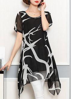 Asymmetric Hem Black White Printed Chiffon Tunic Top