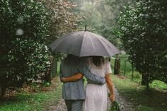 walking together in the rain