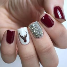 Holiday manicure with dark red nails, silver sparkle accent nail and Rudolph acc. - Holiday manicure with dark red nails, silver sparkle accent nail and Rudolph accent nail. Gorgeous Nails, Pretty Nails, Nail Design Glitter, Nails Design, Glitter Art, Red Glitter, Nagel Stamping, Xmas Nails, Trendy Nail Art