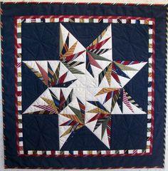 Bird Of Paradise Quilt Blanket – Knitting Blanket 2020 Blue Quilts, Star Quilts, Quilt Blocks, Mini Quilts, Necktie Quilt, Shirt Quilt, Tie Crafts, Half Square Triangle Quilts, Cat Quilt