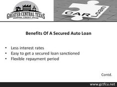 Greater Central Texas Federal Credit Union, a leading auto loan provider in Central Texas offers quick and secured loan. You can apply for used car loan, 72 month auto financing, secured auto loan and unsecured auto loan. The credit union allows flexible repayment options for the auto loan. Added benefits include less interest rates, less monthly installments and less pressure. For details, visit : http://www.gctfcu.net