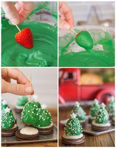 How to make chocolate covered strawberry christmas trees chocolate diy diy crafts do it yourself diy projects christmas tree christmas treats Little Christmas Trees, Christmas Snacks, Christmas Cooking, Christmas Goodies, Holiday Treats, Holiday Recipes, Xmas Trees, Christmas Berries, Christmas Fun