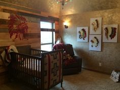 Native American influenced Baby nursery by Designers brew! Indian Chief I got to paint in this amazing nursery