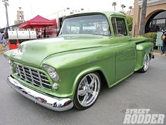 Nice green for a classic truck (kiwi green)... Goodguys Del Mar Nationals 1956 Chevy Pickup