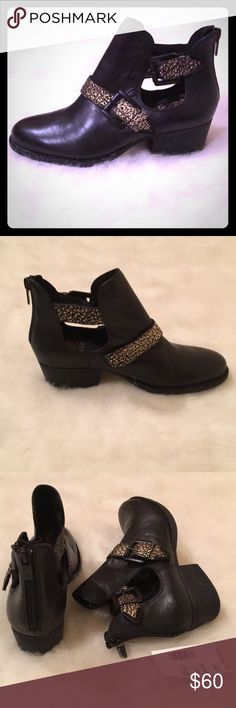 """NWT Elliott Luca Black Leather Ankle Boots NWT Soft black leather with gold accents on straps. Zippers at back of heels. Heel height approx 1 1/2"""". Lightly cushioned insole. Elliott Lucca Shoes Ankle Boots & Booties"""
