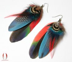 Hey, I found this really awesome Etsy listing at https://www.etsy.com/listing/101300491/colorful-parrot-earrings-amazon-feathers