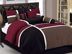 Chezmoi Collection 7-Piece Quilted Patchwork Comforter Set, Queen, Burgundy, Brown and Black