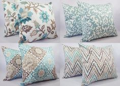 One Spa Blue and Brown Pillow Cover - Blue and Brown Throw Pillow Covers - Decorative Pillow 14x14 16x16 18x18 20x20 22x22 24x24 26x26