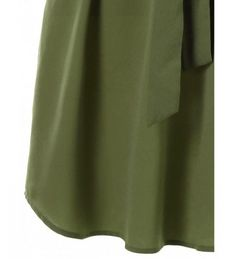 Casual Belted Knee Length Dress - Army Green - 3877665212 Size M