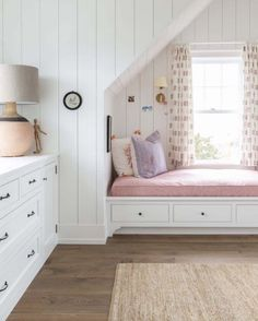 What a sweet spot in this beautiful bedroom designed by We love the built ins combined with the vertical shiplap! Beautiful Bedroom Designs, Kids Bedroom Designs, Beautiful Bedrooms, Design Bedroom, Cool Kids Bedrooms, Trendy Bedroom, Kids Rooms, Girls Bedroom Storage, Bedroom Girls