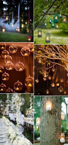 country rustic hang candles decoration ideas for outdoor weddings by helga #weddingcandlesoutdoor #weddingcandlesdecorations