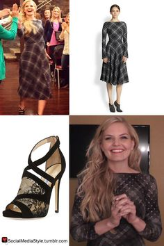 Buy Jennifer Morrison's Live with Kelly & Michael Plaid Dress, Lace Sandals, and Jewelry, here!