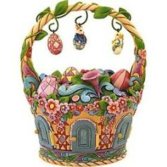 Jim Shore – Heartwood Creek – Easter Basket with Ornaments by Enesco – 4015583