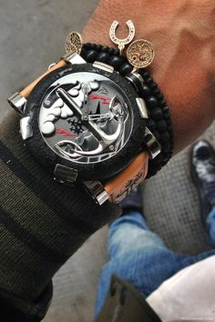 The new Romain Jerome Tattoo DNA designed by world famous tattoo artist Mo Coppoletta #watch #watches #classy #fancy #accessories #uhr #men #classic #modern #vintage #luxury