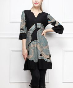 Black & Teal Cloud Notch Neck Dress - like this for casual weekend wear with tights and boots