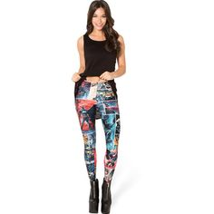 Multi Batman Print Slim Leggings (260 MXN) ❤ liked on Polyvore featuring pants, leggings, multi, legging pants, white slim pants, white leggings, slim fit pants and elastic waist pants