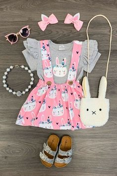 dbe74aec1bee8 Girls 2 PC Skirt Outfit Toddler Baby Kids Clothing Easter Bunny Boutique  Set #SkirtOutfit #