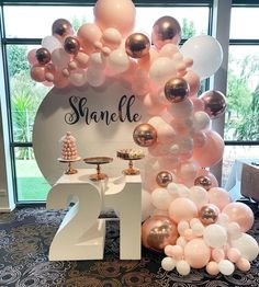 This lot is for Garlands, contains Balloons Total rose gold Maca white Maca peach Free to balloon chain balloon dot 18th Party Ideas, 21st Bday Ideas, Birthday Balloon Decorations, Birthday Balloons, Birthday Backdrop, 18th Birthday Party Themes, 22nd Birthday, Balloon Garland, Toque