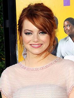 Emma Stone. Love her! Aiming for this color during tomorrow's appointment with Rene. Man I wish my hair was still naturally this bright and shiny. I think it's turning brown. =(