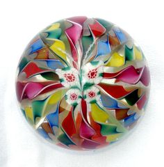 Lundberg Studios Large Millefiori Orchid or Butterfly on Crown Paperweight | eBay