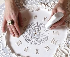 Crafts For Girls Hobbies And Crafts Custom Stencils Craft Ideas Craft Projects Plaster Of Paris Goldwork Diy Plaster Painted Walls Diy Plaster, Plaster Crafts, Clock Art, Diy Clock, Hobbies And Crafts, Diy And Crafts, Arts And Crafts, Deco Baroque, Glue Art